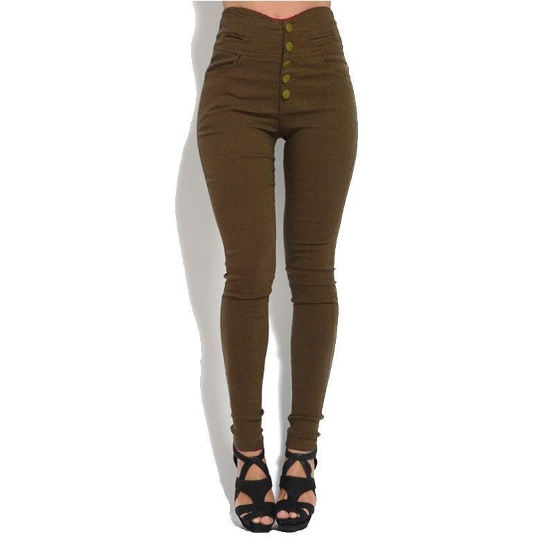 Pants For Women High Waist Stretch Pencil Pants Ladies Casual Button Solid Skinny Slim Trousers