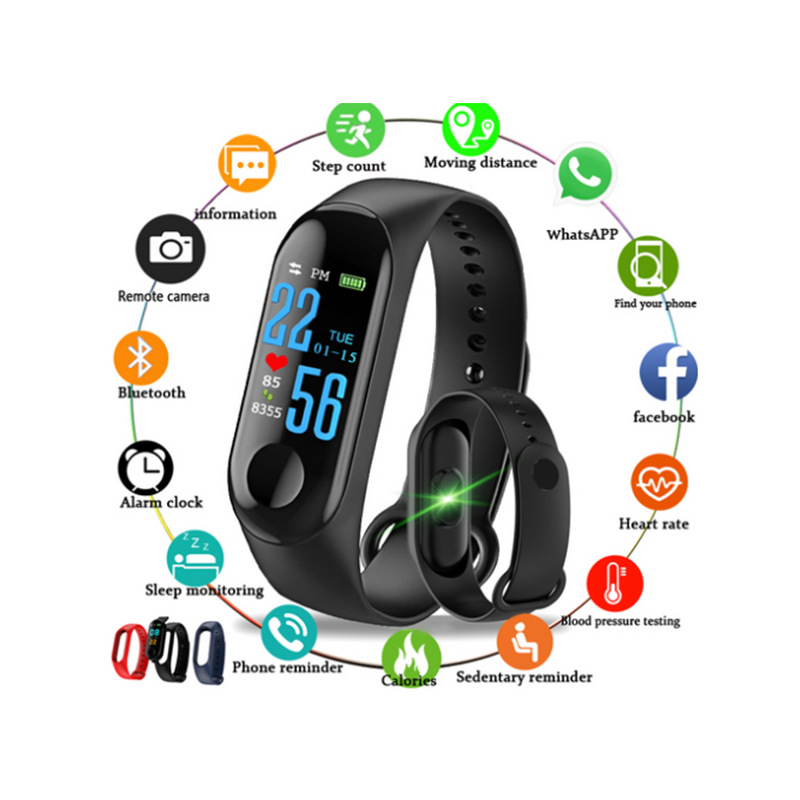 2018 nouveau Style M3 couleur écran sport Bracelet fréquence cardiaque surveillance Information pousser Bracelet Bluetooth intelligent