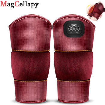 Electric Heated Knee Pad Brace Wrap Vibrating Rechargeable Heating Pad Kneepad Therapy Wrap Arthritis Pain Relief Massager