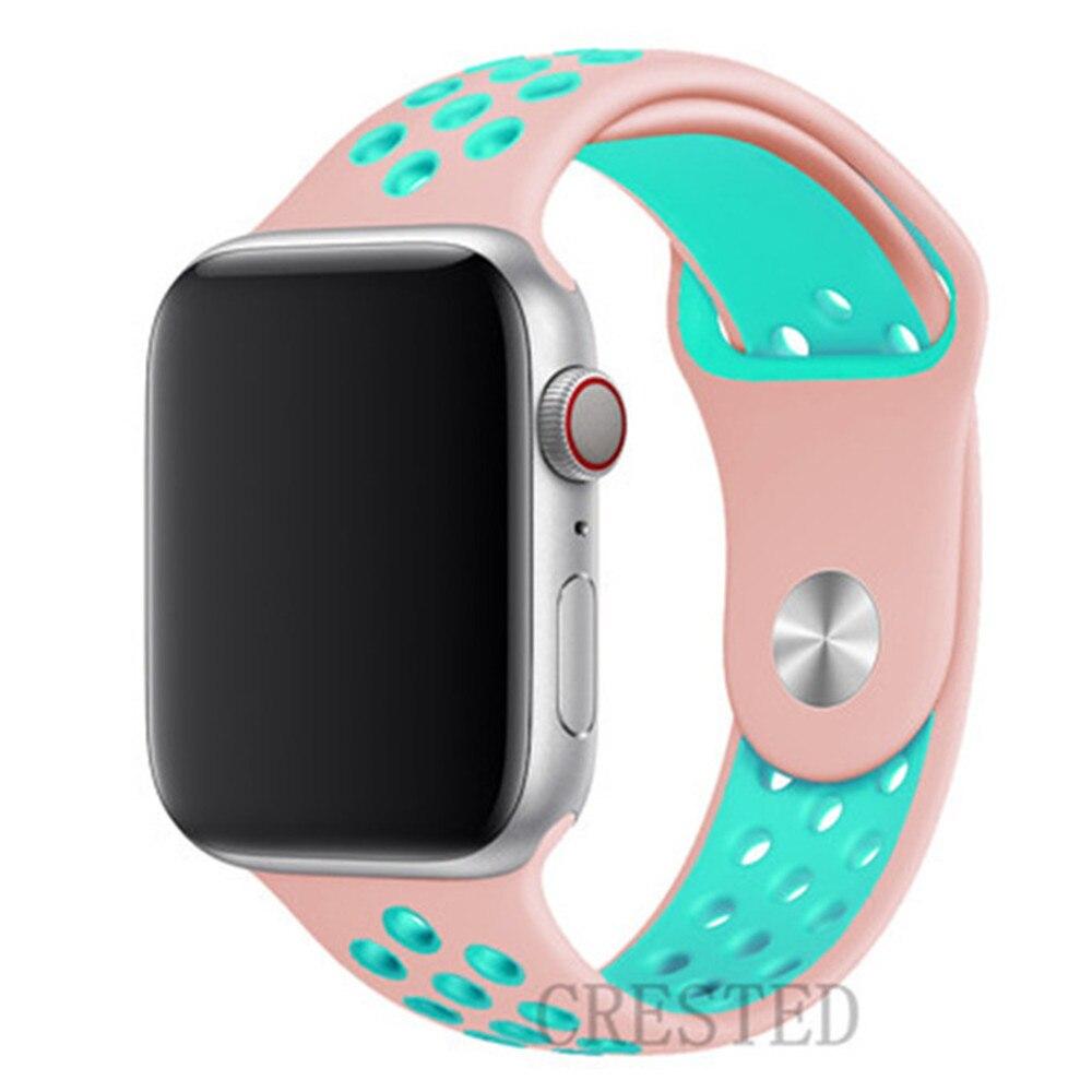 Спортивный ремешок для apple watch band 44 мм/40 мм apple watch 5 4 3 band iwatch band 5 42 мм/38 мм correa браслет ремень аксессуары для часов - Цвет ремешка: rose green 6