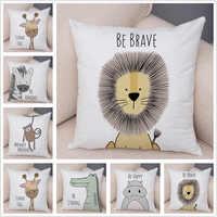 Nordic Zebra Hippo Giraffe Lion Crocodile Pillow Case Decor Animal Cushion Cover for Sofa Pillowcase Pillow Covers 45x45cm
