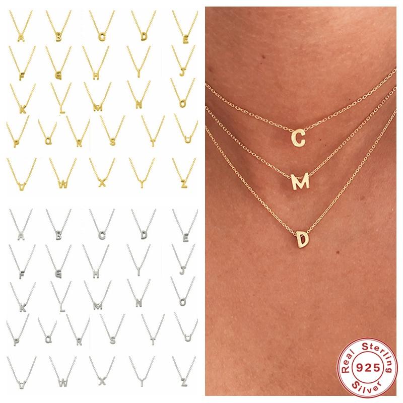925 Sterling Silber Initial Brief Anhänger Halskette Für Frau Tochter A-Z Alphabet Collares Mujer Feine Schmuck Weihnachten Geschenke