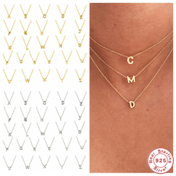 Aide 925 Sterling Silver Initial Letter Pendant Necklace For Women Girl A-Z Alphabet Collares Mujer Fine Jewelry Christmas Gifts