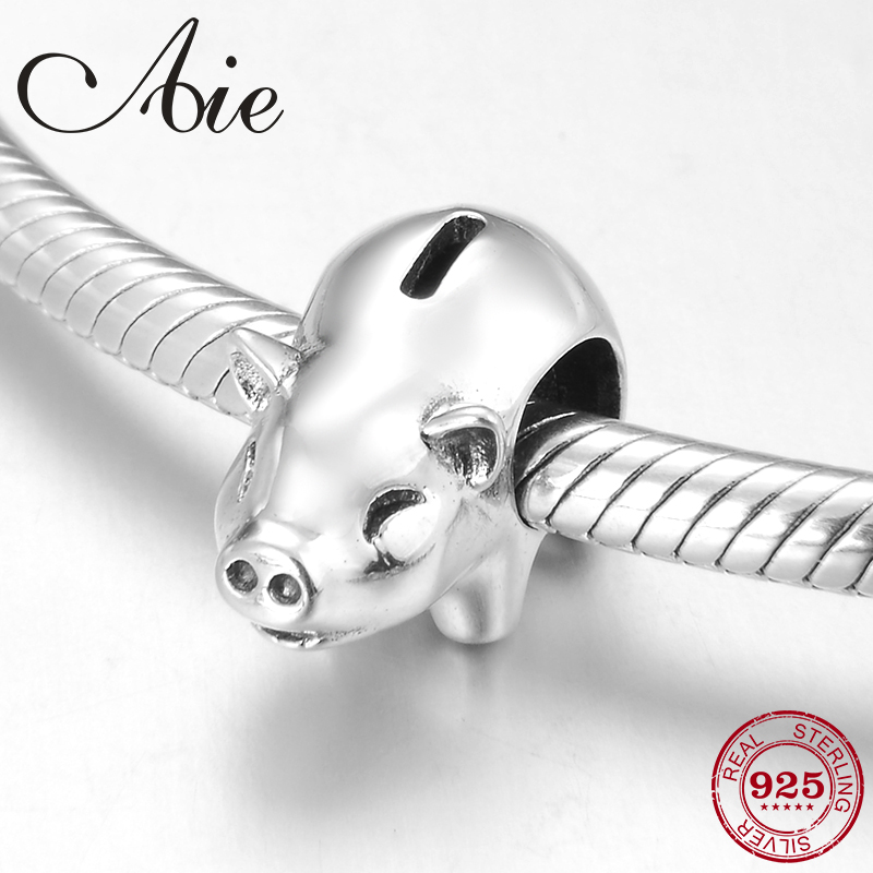 New 925 Sterling Silver Pig Piggy Bank Beads Fit Original Pandora Charm Bracelet Jewelry Making