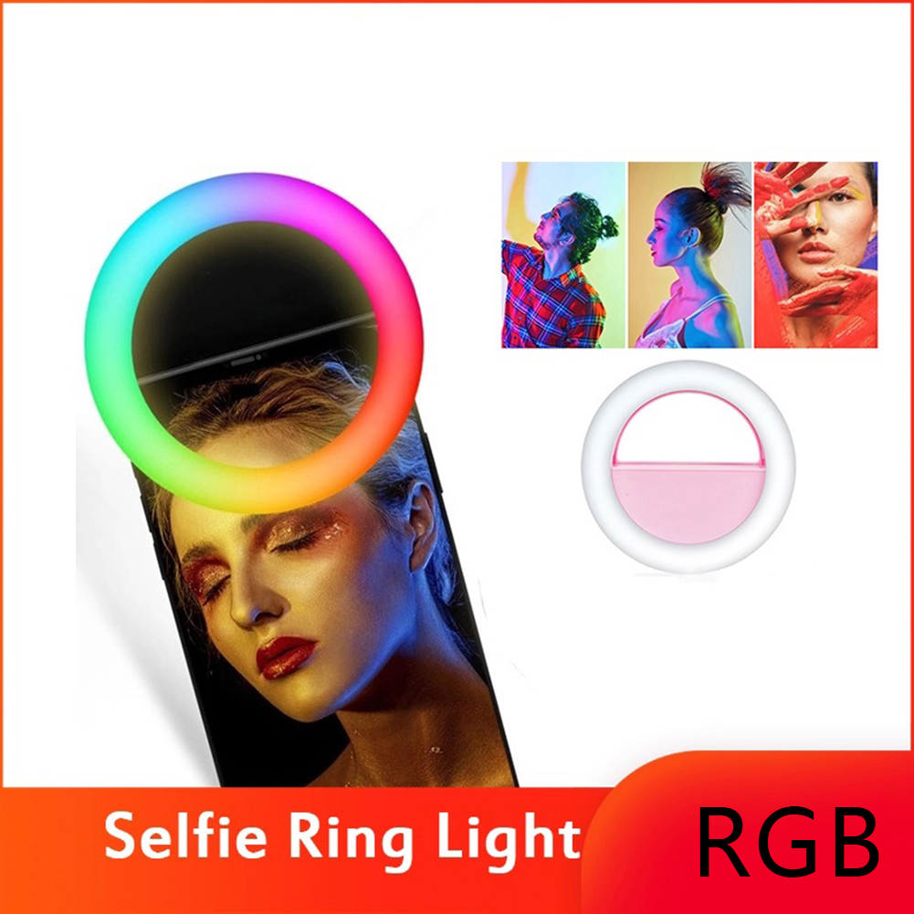 Clip LED  RGB Selfie Ring Light  Rechargeable Ringlight For Smart Phone Tablet Camera Round Colorful Lighting For Youtube Tiktok
