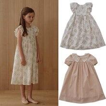 2021 novo verão lou marca crianças vestido para meninas bonito flor manga curta vestidos de princesa do bebê da criança algodão roupas moda