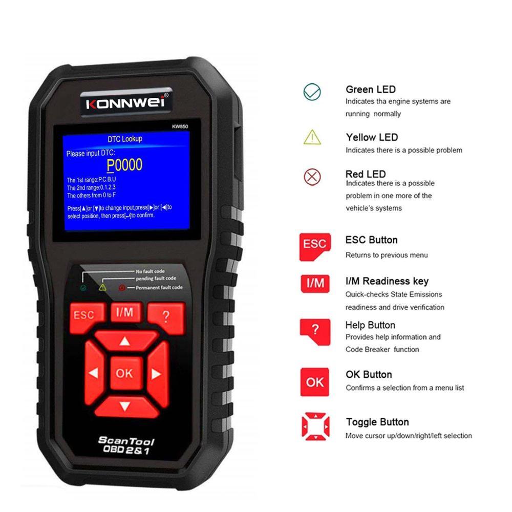 KONNWEI Universal OBD2 Scanner Auto Diagnosis Code Reader Scaner Tools KW850 Automotive code scanner Programmer
