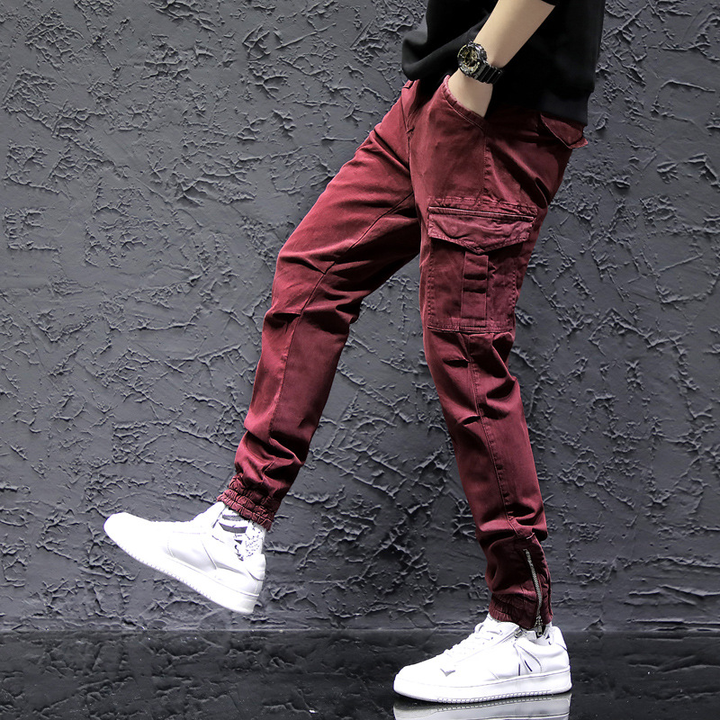 #2228 Red Black Green Skinny Cargo Pants Men Fashion Streetwear Pants Zipper Men Joggers Slim Hip Hop Trousers For Men Cotton