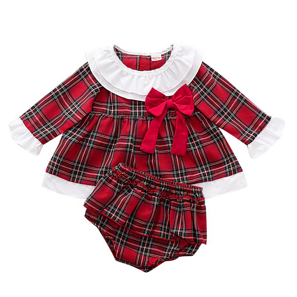 Newborn Baby <font><b>Girls</b></font> Clothes Ruffles <font><b>long</b></font> <font><b>Sleeve</b></font> <font><b>red</b></font> plaid <font><b>Dress</b></font> Tops +Shorts Bottoms Outfit Set princess <font><b>christmas</b></font> <font><b>dresses</b></font> D20 image
