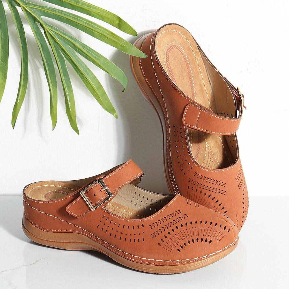 Vertvie/летние босоножки; женские босоножки из натуральной кожи на мягкой подошве с закрытым носком; повседневная женская обувь на плоской под...