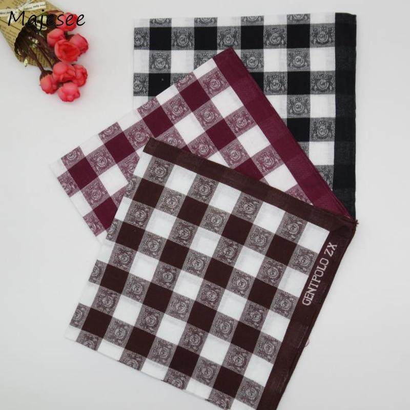 Handkerchiefs Women Simple Classic Plaid Elegant Casual Trendy Vintage Females High Quality Soft Cotton Pocket Square Thin Chic