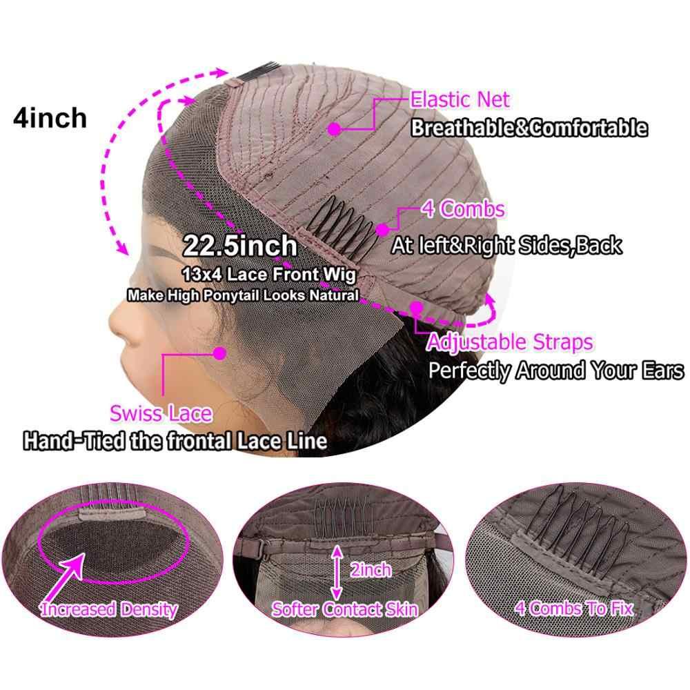 Remy вьющиеся короткие длинные настоящие парики из натуральных волос 13x4 парики с кружевом спереди для черных женщин 150% плотн