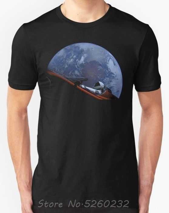 Yeni Spacex Starman çin'de yörünge erkek tişört boyutu S-3XL için adam Hipster o-boyun nedensel serin üstleri