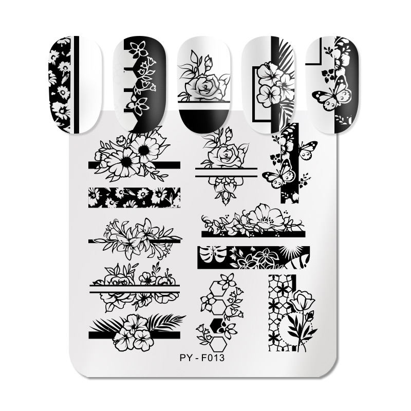 PICT YOU Natural Flower Leaves Nail Stamping Plates Lavender Mandala Flowers Plants Plate Templates Stainless Steel Stencil Tool