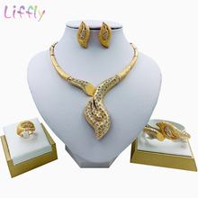 цена African Jewelry Fashion Geometric Embellished Crystal Necklace Earring Bracelet Nigeria Jewelry Set for Women Wedding