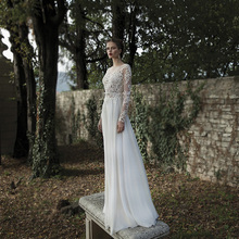 長袖のウェディングドレスシフォンアップリケレースの花嫁ドレス背中非公式安いローブデのみ