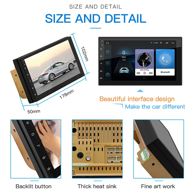 Android 8.1WiFi GPS Navigation 7 Zoll 2Din Quad Core Auto Stereo MP5 Player FM Radio