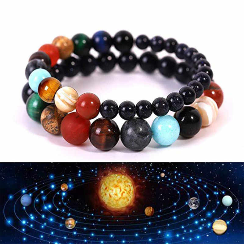 Lovers Eight Planets Natural Stone Bracelet Universe Yoga Chakra Galaxy Solar System Bracelets for Men Women Jewelry Dropshiping