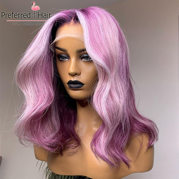 Preferred 13x4 Remy Ombre Lace Front Wig PrePlucked Lace Wig Highlight Wig Brazilian Purple Lace Front Human Hair Wigs for Women
