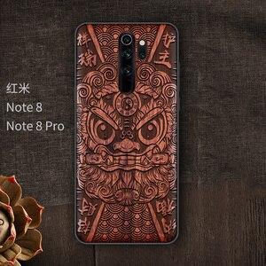 Image 5 - Étui de téléphone pour xiaomi en bois fait main Redmi Note 8 Pro couverture en bois véritable naturel calligraphie chinoise s caractères couverture en ébène
