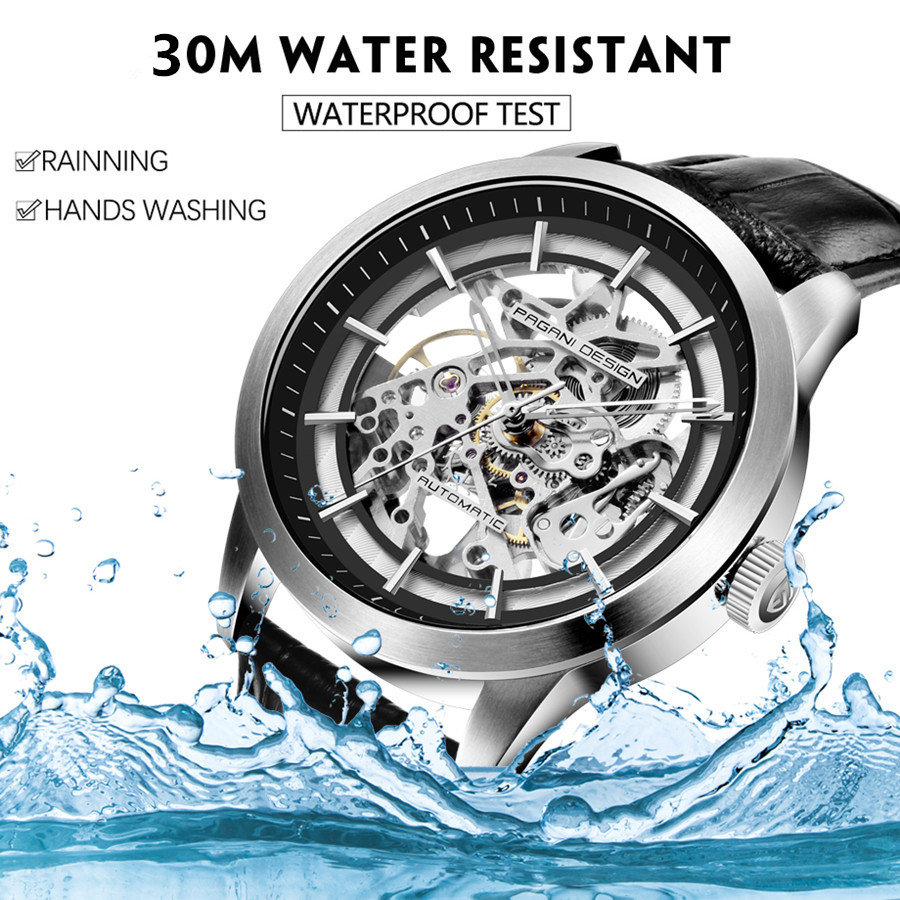 Image 4 - 2020 PAGANI DESIGN Brand Fashion Leather Gold Watch Men Automatic