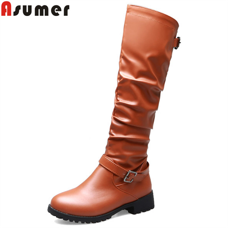 ASUMER Winter Boots Women Low-Heels Comfortable Autumn Large-Size Knee Zip 34-46 Round-Toe