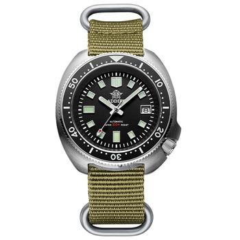 1970 Abalone 200m Diver Watch Sapphire crystal calendar NH35 Automatic Mechanical Steel diving Men's watch - Nylon Khaki logo
