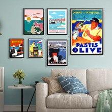 França marselha anis azeitona viagens quadros em tela fotos do vintage kraft posters revestido adesivos de parede decoração para casa presente