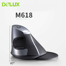 цена на Delux M618 Wireless Vertical Mouse Ergonomic Optical Gaming Computer Mice 1600 DPI Upright PC Office Gamer Mause For Laptop Mac