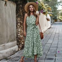 Женское длинное платье в горошек с принтом на шнуровке высокой