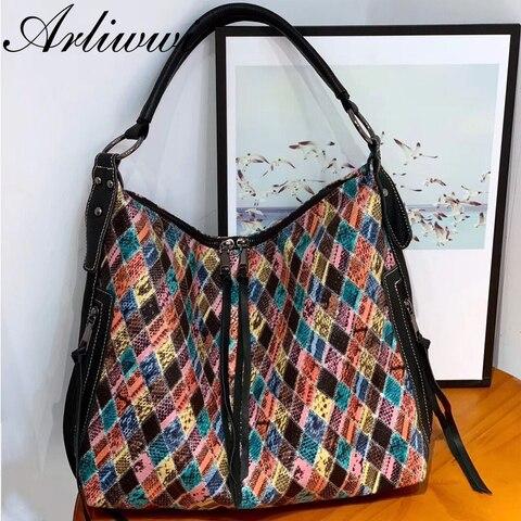 Colorido da Manta Bolsas de Ombro de Couro Arliwwi Designer Novo Luxo Lady Hobos Bolsas Feminino
