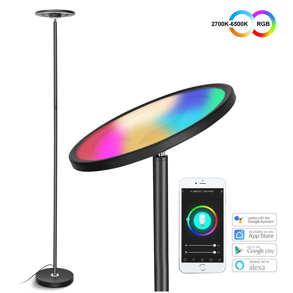 Modern LED Floor Lamp Smart WIFI Remote Control Dimmable Standing Lamps LED Corner Light With USB Charging Port For Living Room