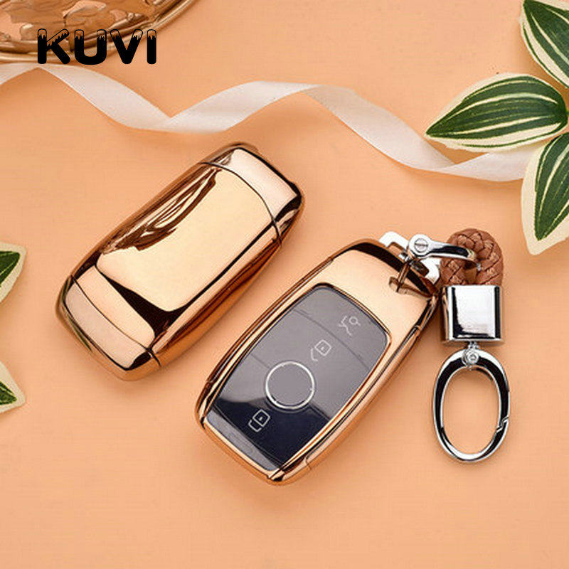 Alloy Leather Key Case Cover Keychain Fit For Benz E Class W213 AMG E200 E260