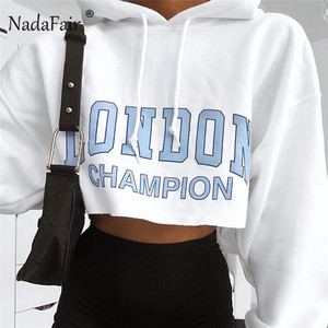 Nadafair Print Blue Letter White Hooded Cropped Hoodies Women 2019 Long Sleeve Streetwear Short Sweatshirt Female(China)