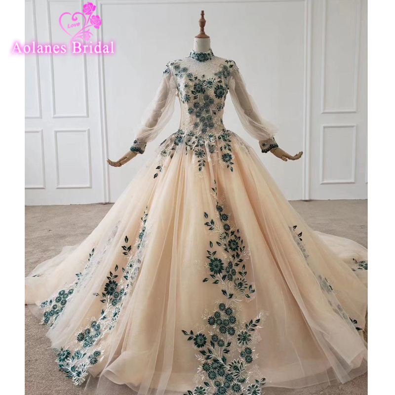 Long Prom Dress 2020 Gorgeous High Neck Long Sleeves Oman Handmade Green Lace Flowers Saudi Arabia Ball Gown Formal Evening Gown
