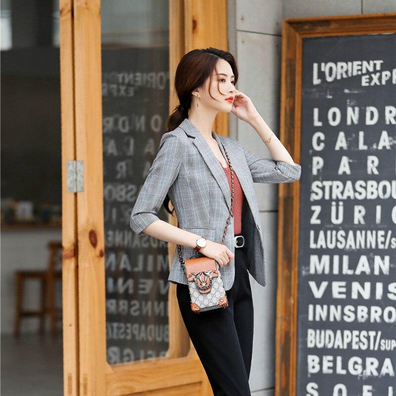 Female Elegant Formal Office OL Fashion Casual Grey Blazer Women Jackets Half Sleeve Ladies Work Wear Business Clothes OL Styles