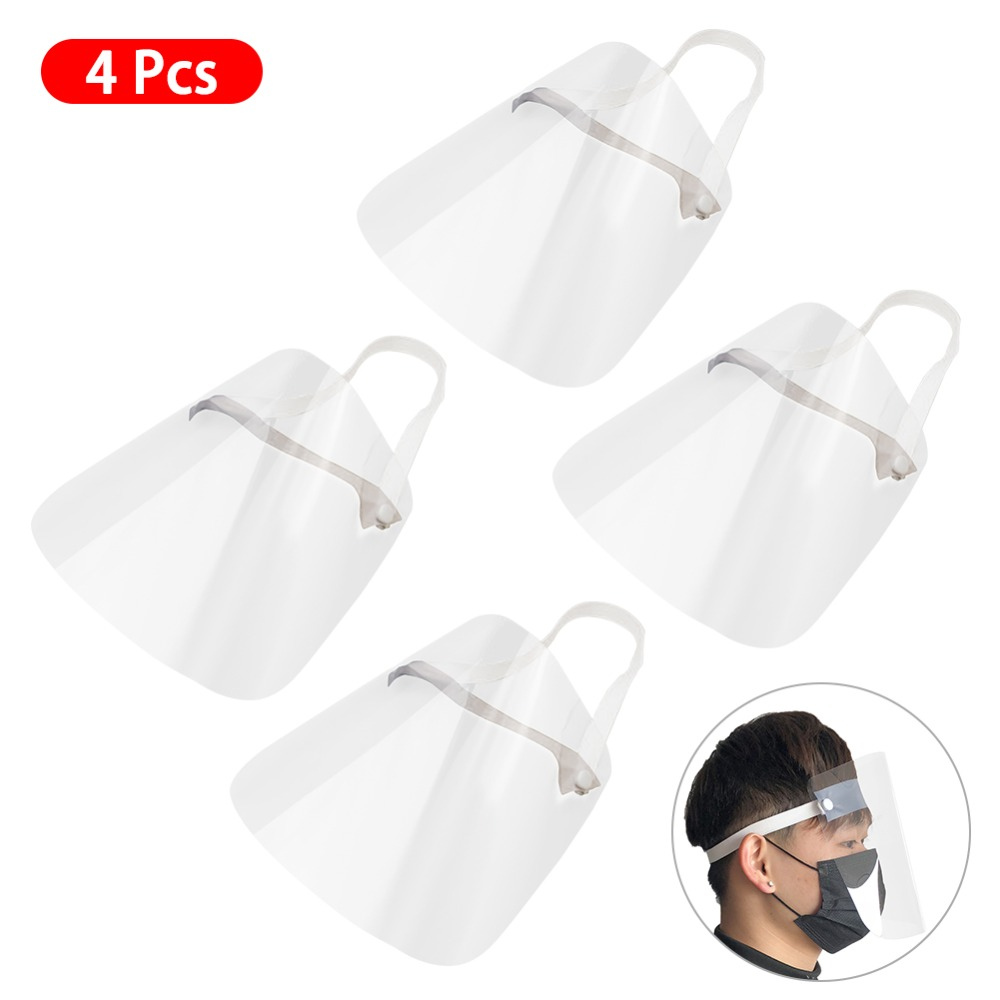 4/10PCS Clear Face Cover with Double-Sided Film and Adjustable Headband to Protect Full Face 4