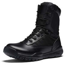 Men's tactical boots black combat boots high outdoor hiking breathable army boots desert boots tactical military climbing shoes winter leather combat boots fan of military boots high male commando outdoor climbing shoes for tactical boots lu desert boots