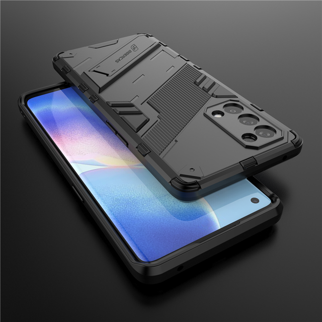 For Oppo Reno5 Pro 5G Case Cover Shockproof Silicone Bumper Stand Holder Armor Hard Phone Back Cover For Reno 5 Pro 5G Casing