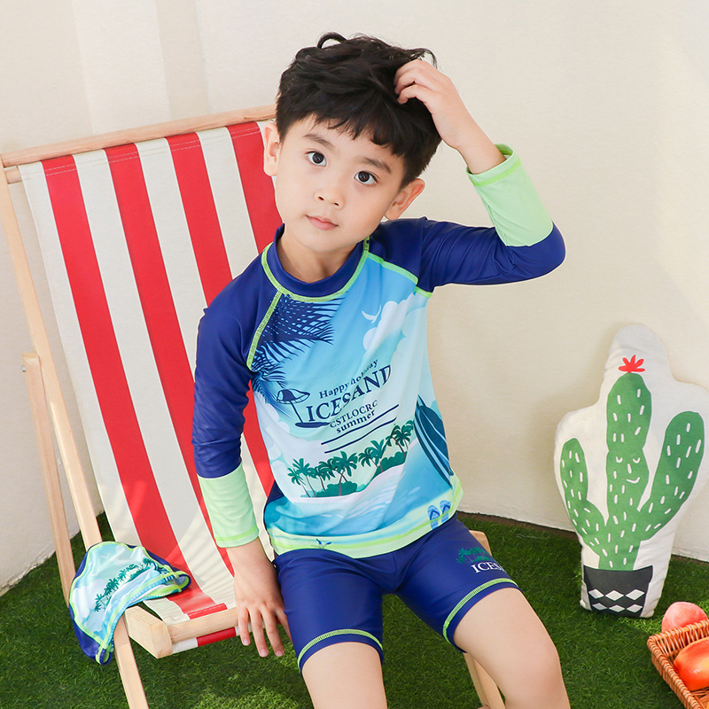 Children Two-piece Swimsuits Big Boy Long Sleeve BOY'S Swimming Trunks Set Male Baby Diving Swimming Suit Capping-