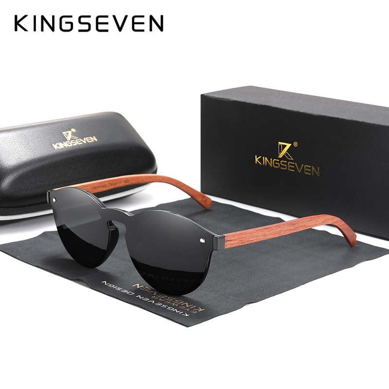 Custom LOGO Natural Wooden Sunglasses KINGSEVEN Bubinga Men's Polarized Glasses Wooden Fashion Sun Glasses Original Accessories 9