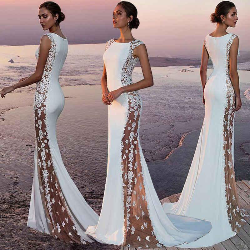 สีขาวชุดราตรียาว Amazing เซ็กซี่ลูกปัดความยาวชุดผู้หญิงปักลูกไม้เซ็กซี่ O-Neck Long Maxi ชุดสุภาพสตรี Vestito