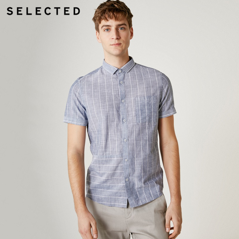 SELECTED Men's 100% Cotton Striped Short-sleeved Shirt S|419204518