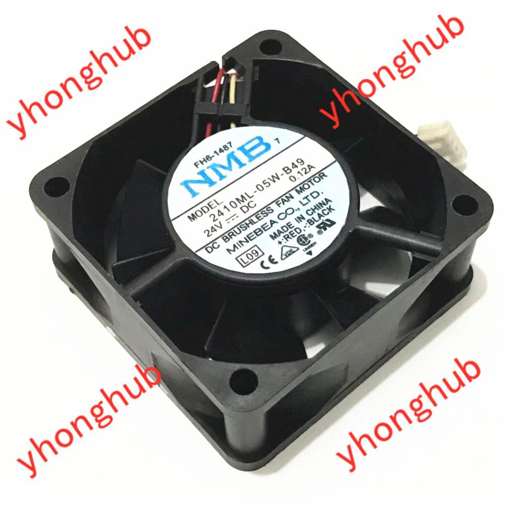 NMB-MAT 2410ML-05W-B49 L09 DC 24V 0.12A 3-Wire 60X60X25mm Server Cooling Fan