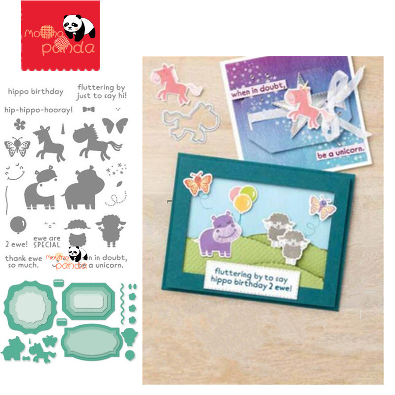 MP120 HIPPO HAPPINESS  Metal Cutting Dies And Stamps New 2020 Scrapbooking For Card Making DIY Embossing Cuts Circle Craft Dies