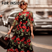 For Insider Floral print black maxi dress Bohemian embroidery long two pieces set Women autumn winter vintage festa