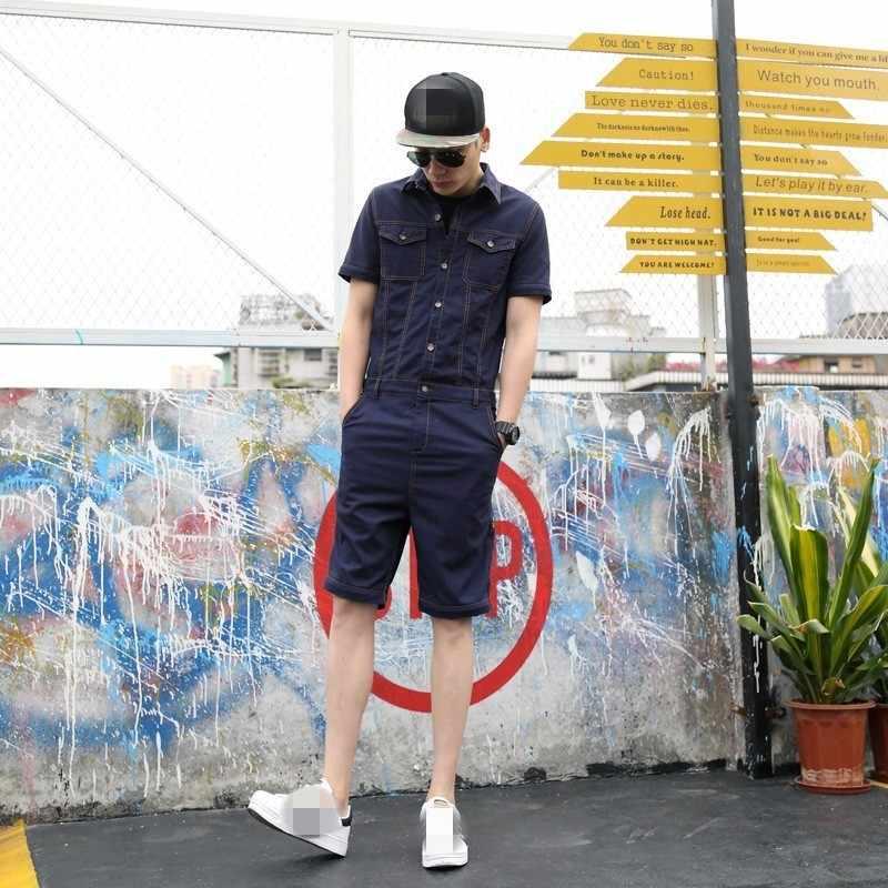 Jesień kombinezon męskie spodnie typu casual Vintage odpinane denimowe fartuchy jednoczęściowe spodnie Cargo dopasowane dżinsowe kombinezony czarny/niebieski