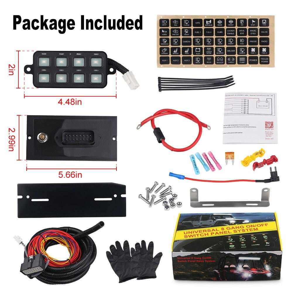 DC12V-24V 100A 8 Gang panel przełączników led z oprogramowaniem do pobrania system zasilania przełącznik panelu sterowania telefonem dla samochodów ciężarowych