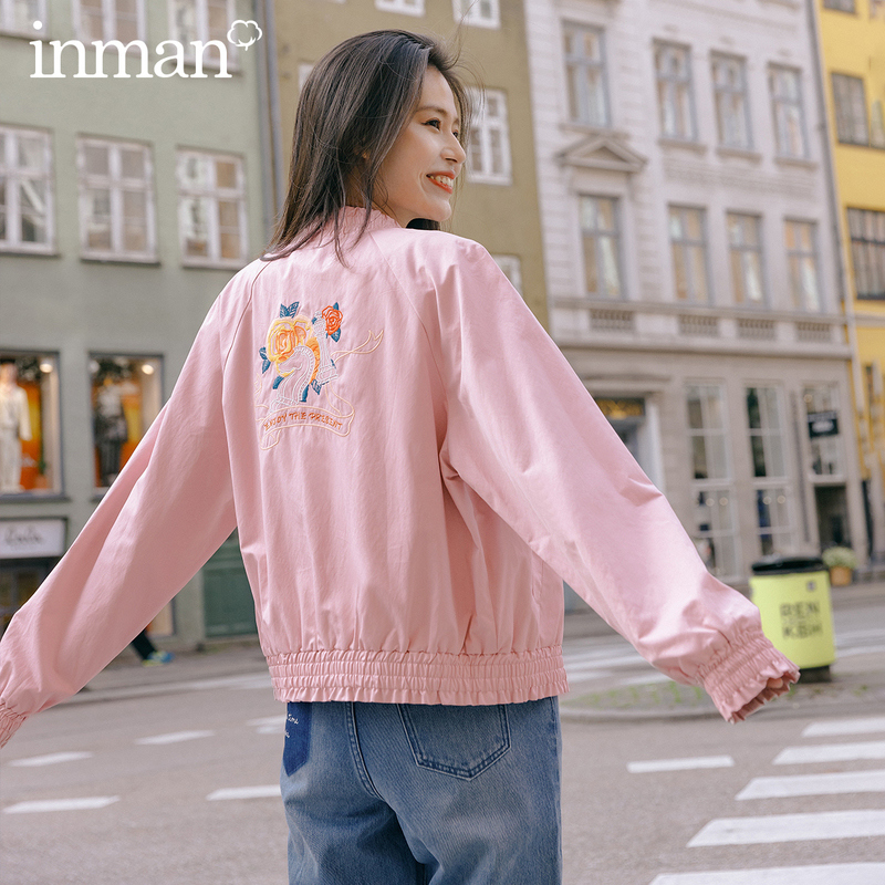 INMAN 2020 Spring New Arrival Literary Embroidered Loose Baseball Collar Zipper All-match Women Jacket