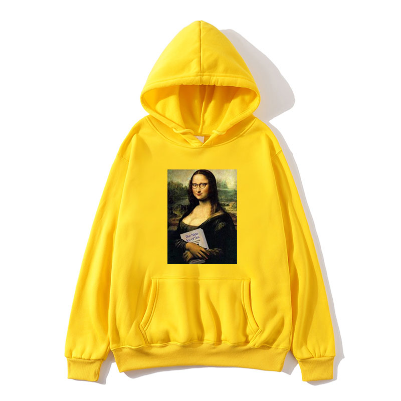 Funny Mona Lisa Print Fleece Men and Women Hooded Pullover Shirt Harajuku Hip Hop Street Shirt Hoodie Casual Top